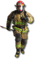 Firefighter running to join the team
